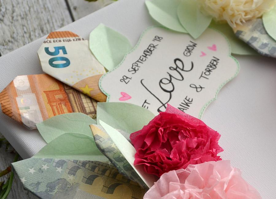 Geldgeschenk Blumenkranz