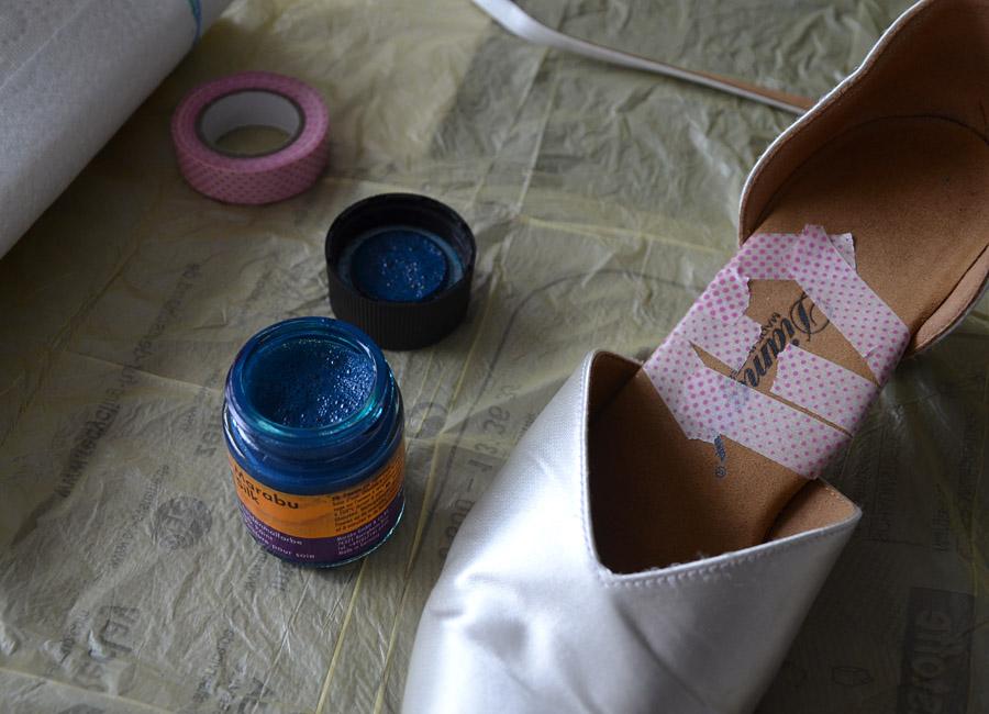 Brautschuhe färben