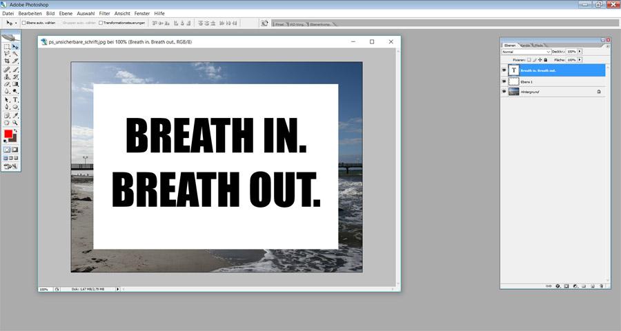 Unsichtbare Schrift Photoshop